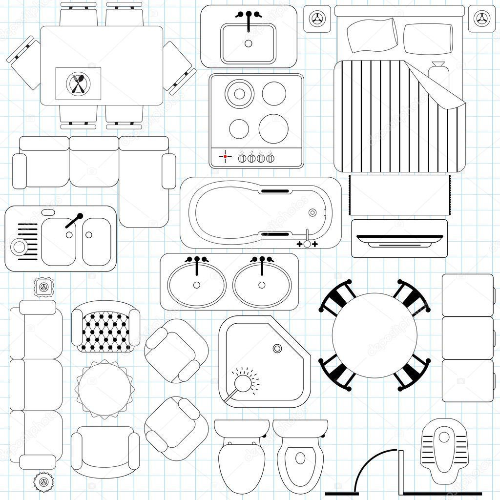Icons Simple Furniture Floor Plan Vector Image By Sasimoto Vector Stock 28963015