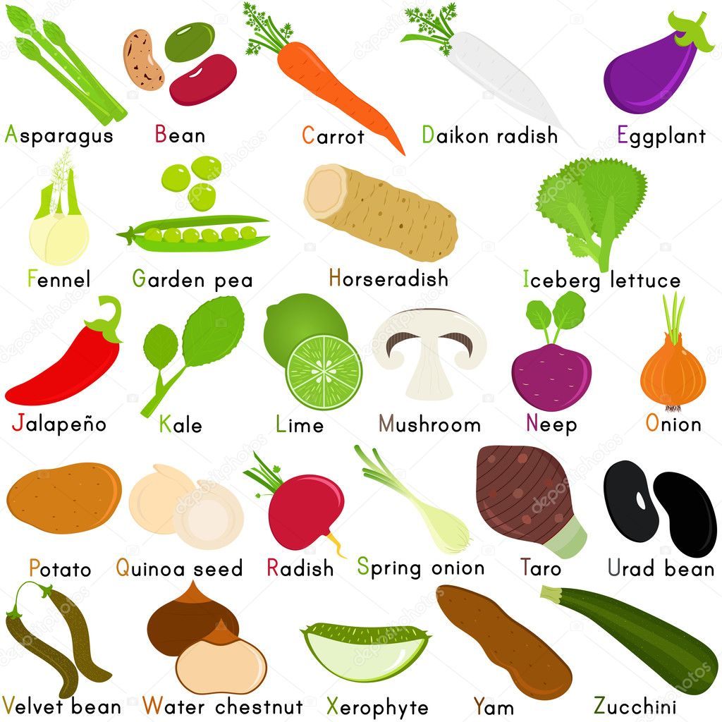 Icons of Vegetable Representing Alphabet A to Z — Stock