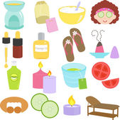 krása nástroje, ikony lázně, relaxační, masáž v pastelově