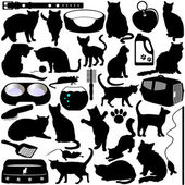 Vector Silhouettes of Cats, Kittens and Accessories