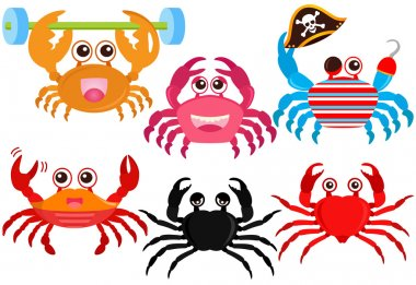 Animal Vector Icons : Cute colorful Crabs