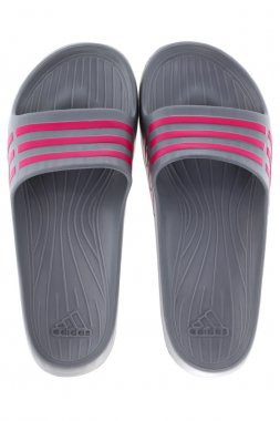 Adidas Duramo Slide sandals in Graphite with pink stripes