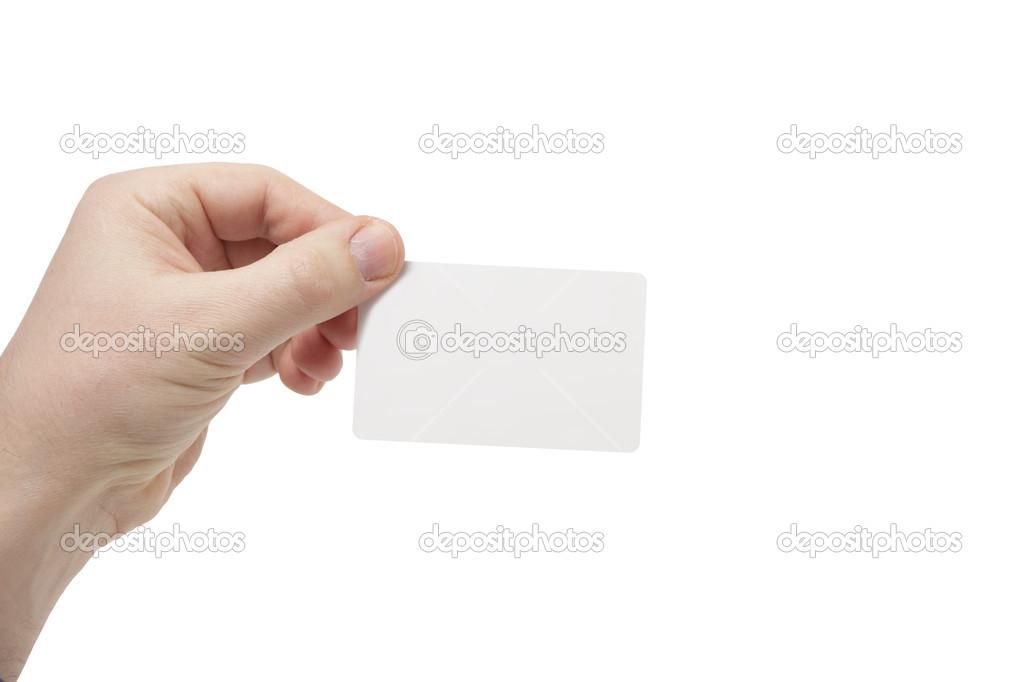 Jeune Homme Tenant Une Carte De Crdit Ou Visite Blanche En Pointant Vers La Droite Image Eagle13