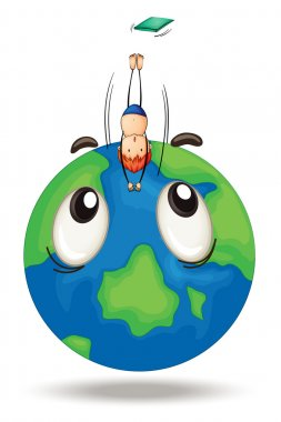 a diving on earth globe