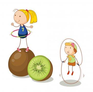 kids and kiwifruits