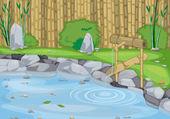 Fotografia parete lago e bambù