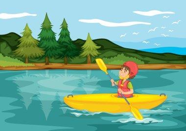 a boy in a boat