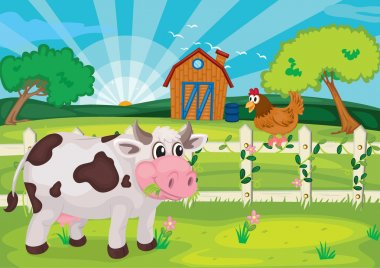 Illustration of cow grazing in farm near farm house stock vector