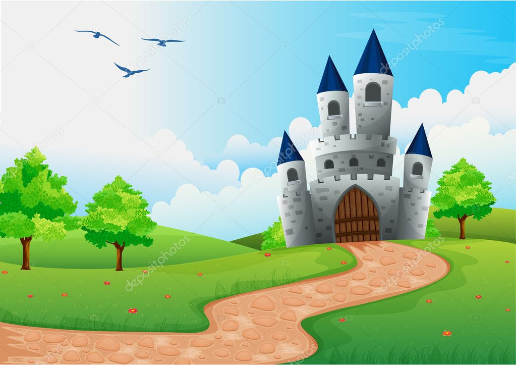 Illustration of a beautiful house in nature stock vector