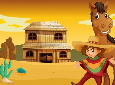 man, horse and house