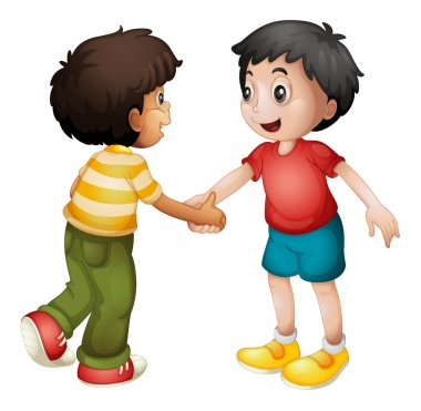Illustration of two kids shaking hands on white background stock vector