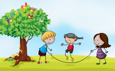 Illustration of a park scene with kids skipping stock vector