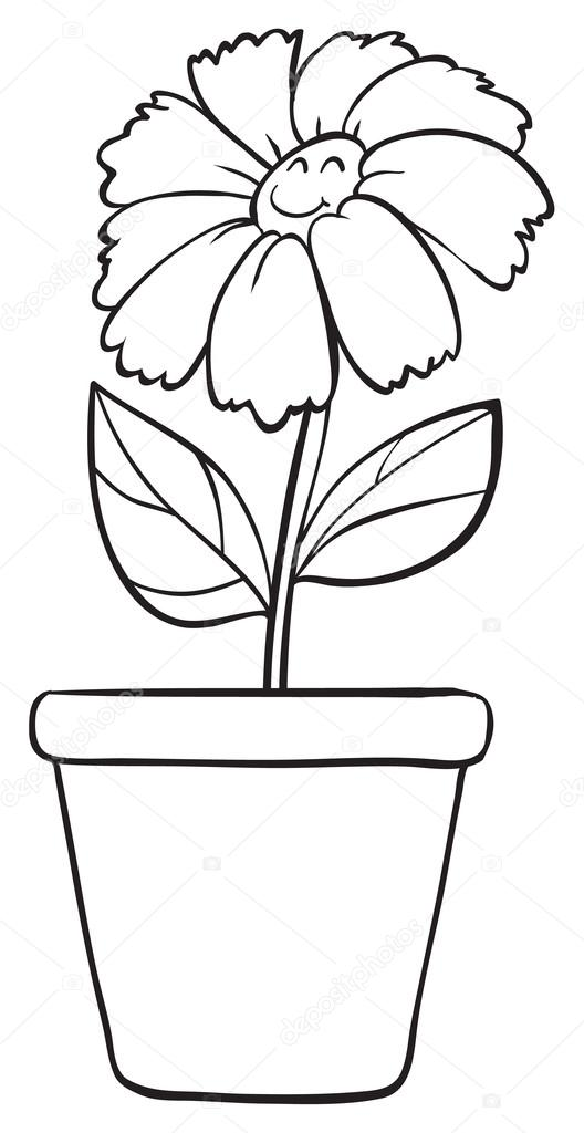 A blue flower and pot sketch stock vector interactimages 14174508 illustration of a blue flower and pot sketch on white background vector by interactimages mightylinksfo