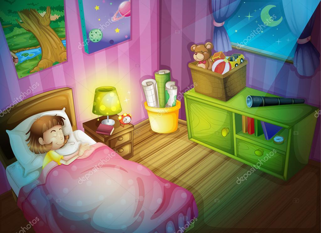 Chica en dormitorio a dormir por la noche vector de for Dormitorio animado