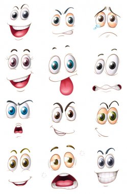 Illustration of faces on a white background clip art vector