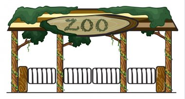 Illustration of a zoo entrance on a white background stock vector