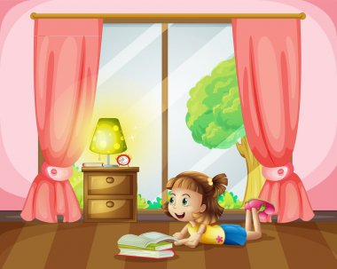 Illustration of a girl reading a book in her room stock vector