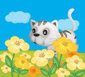 Kočka sedí v přírodě