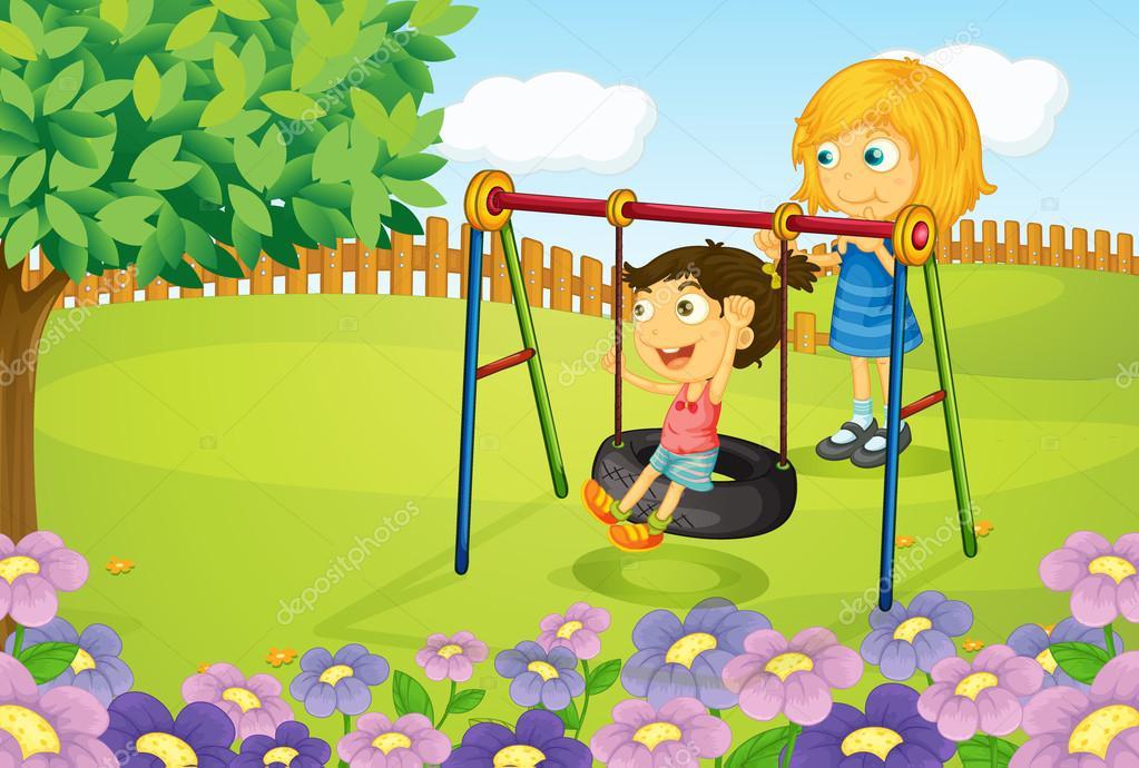 columpio niños jugando en el jardín — Archivo Imágenes Vectoriales ...