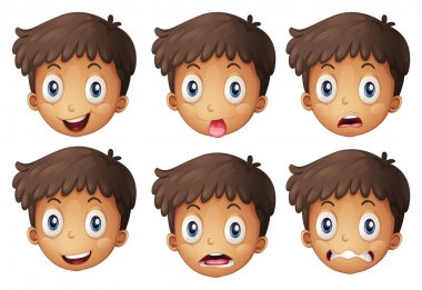 Illustration of a face of a boy on a white background clip art vector
