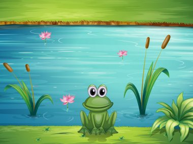 Illustration of a river and a frog in a beautiful landscape stock vector