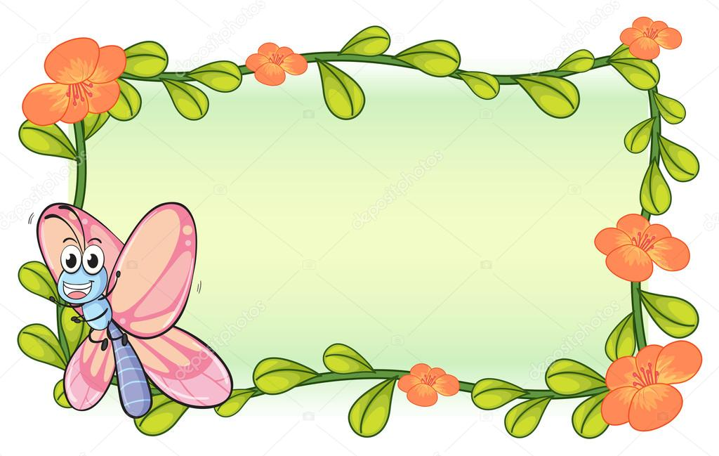 A Butterfly And Flower Plant Frame Stock Vector