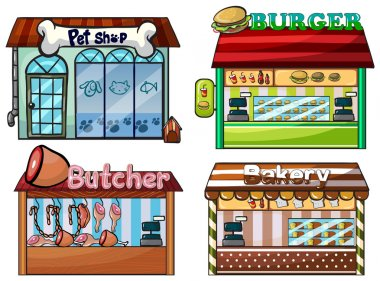 Petshop, burger stand, butcher shop, and bakery