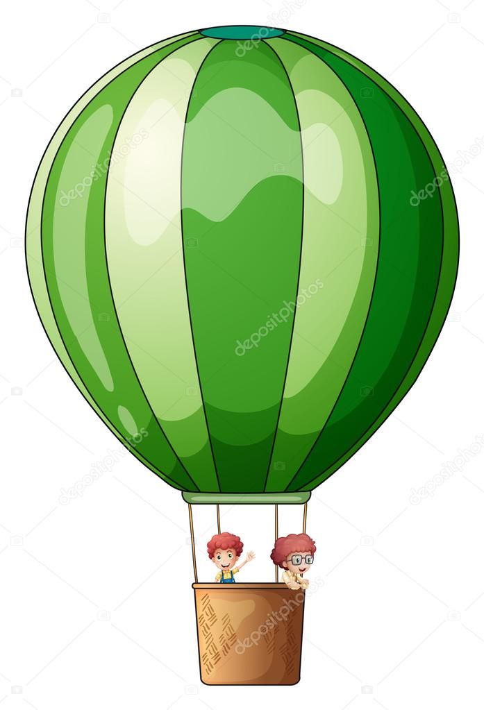 An air balloon flying with two kids