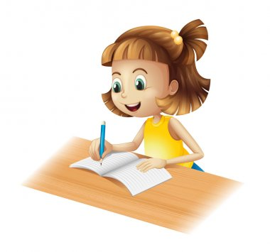 A happy girl writing