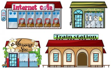 Various shops and a train station