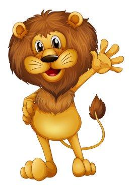 A lion waving