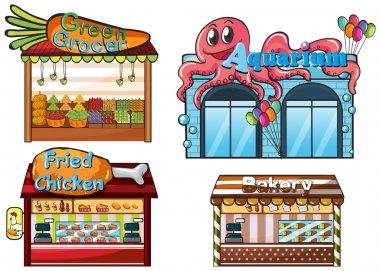 A fruitstand, an aquarium, a food stall and a bakery