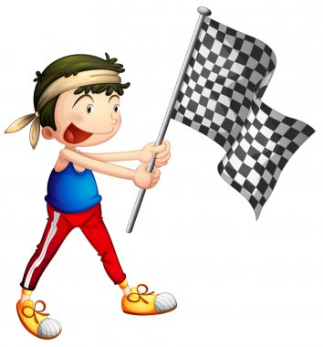 An athlete holding a flag