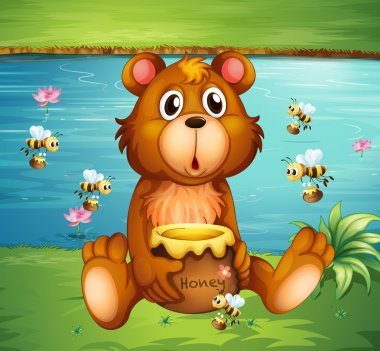 A bear and bees near the river