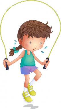 A little girl playing skipping rope