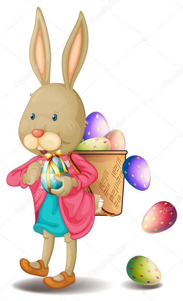 Un Coniglietto Con Un Sacco Di Uova Di Pasqua Vettoriali Stock