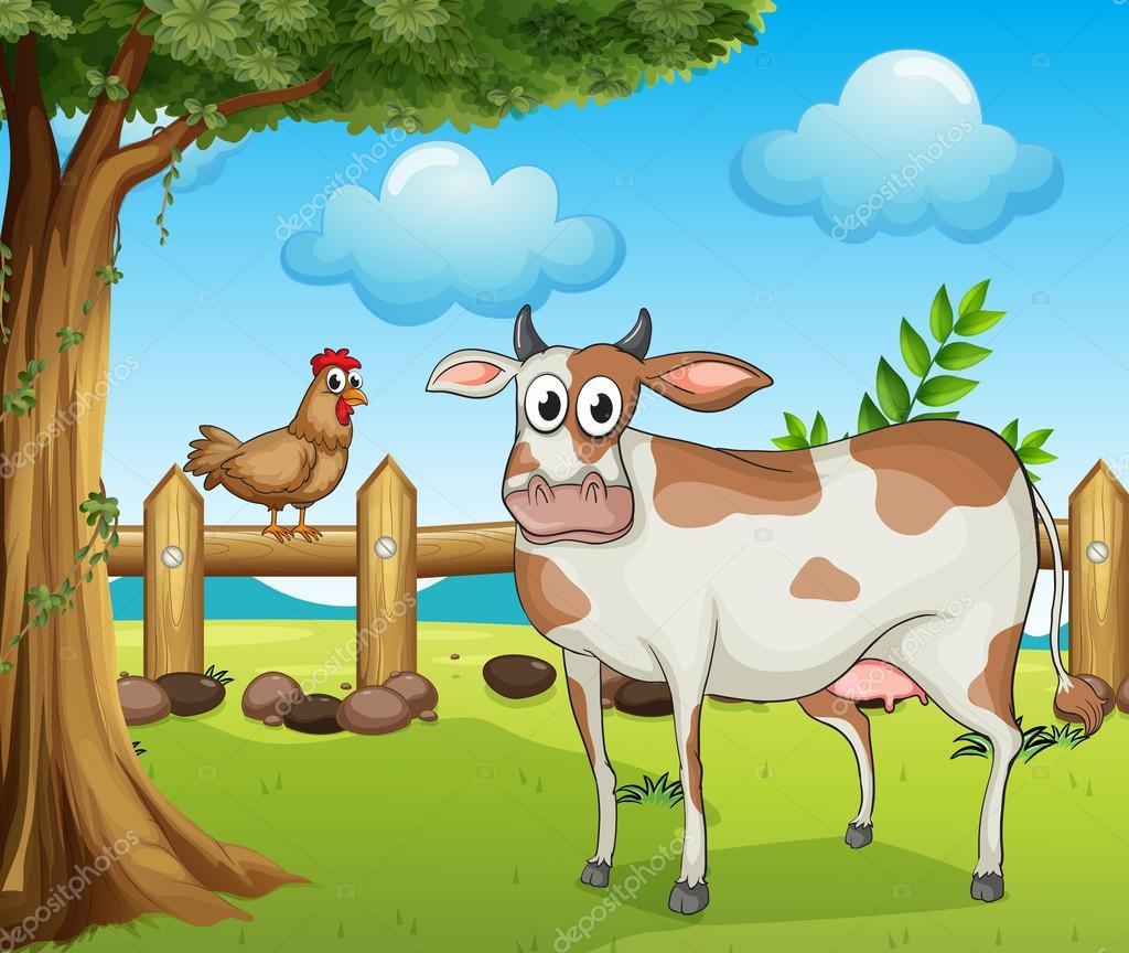 Une vache une poule et un beau paysage image - Image d une poule ...