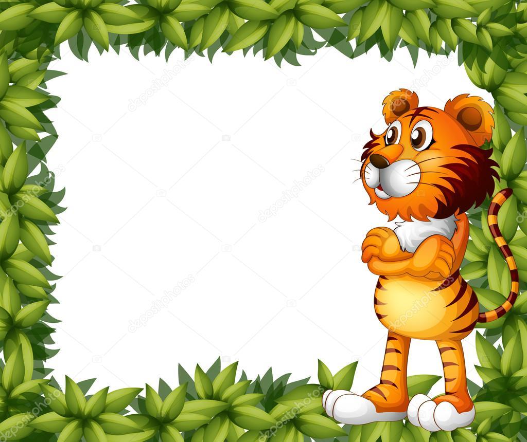 un sonriente marco tigre y planta — Archivo Imágenes Vectoriales ...