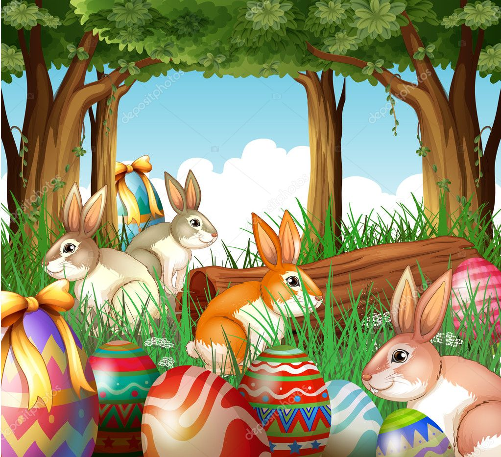a group of bunnies and easter eggs u2014 stock vector interactimages