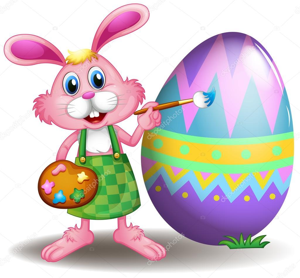 un conejo pintar los huevos de Pascua — Vector de stock ...