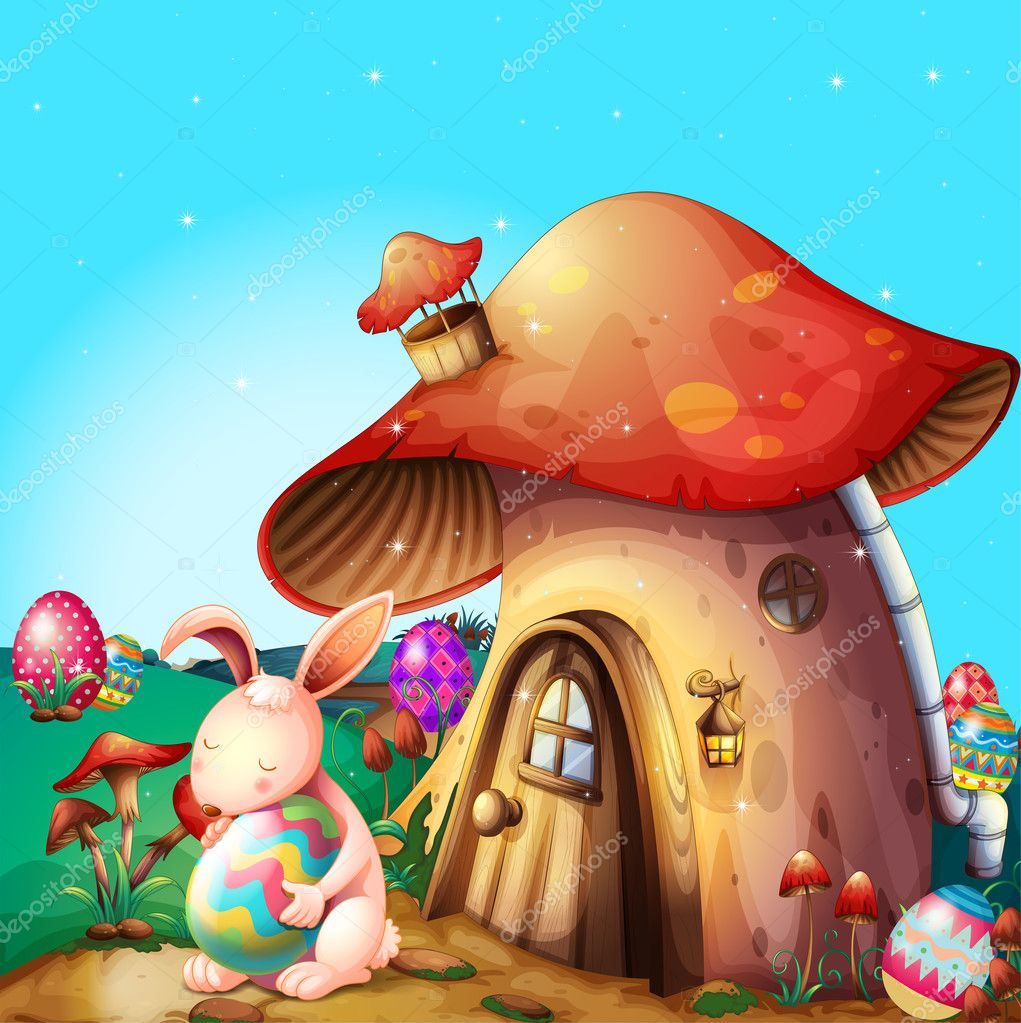 Easter eggs hidden near a mushroom-designed house