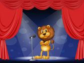 Lev na pódiu