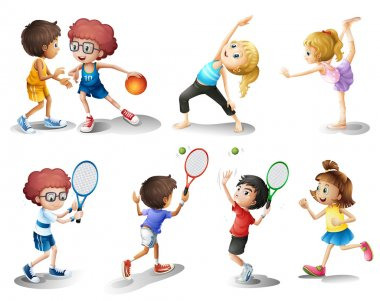 Illustration of kids exercising and playing different sports on a white background stock vector