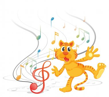 A tiger with musical notes