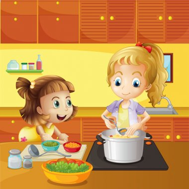 Illustration of a mother and daughter cooking together stock vector