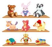 dřevěná police s různými hračkami