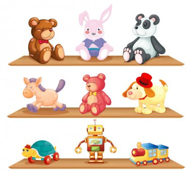 Wooden shelves with different toys