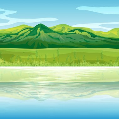 A mountain across the lake