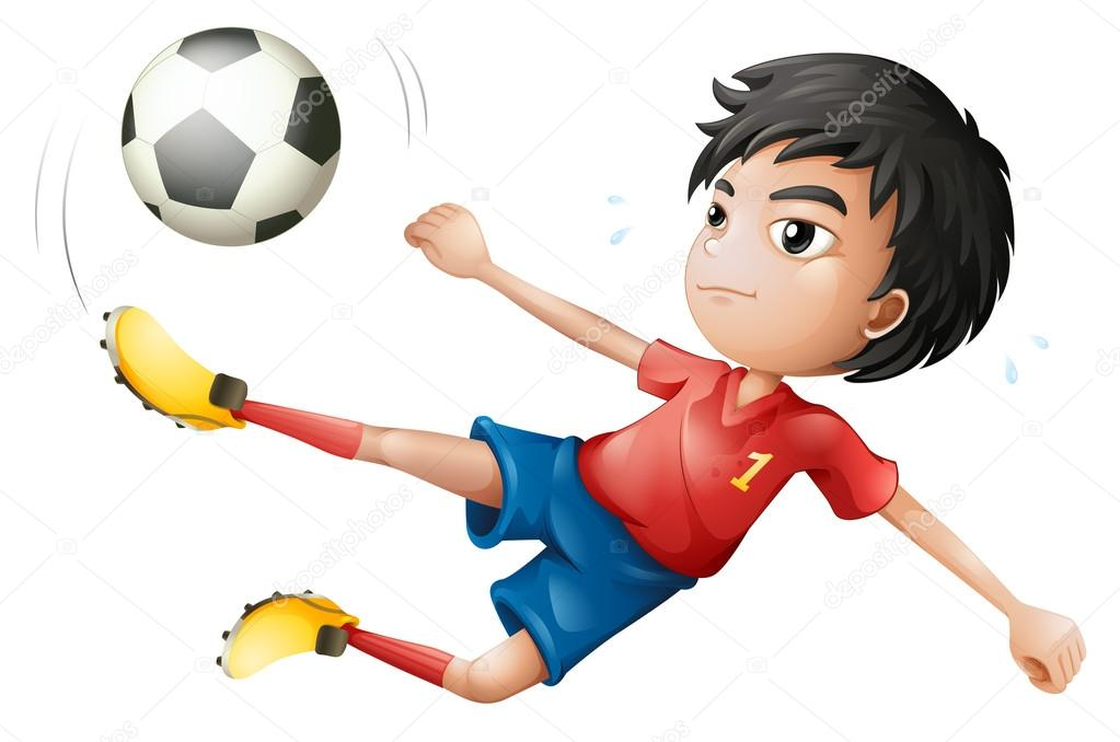 Illustration of a soccer player on a white background stock vector