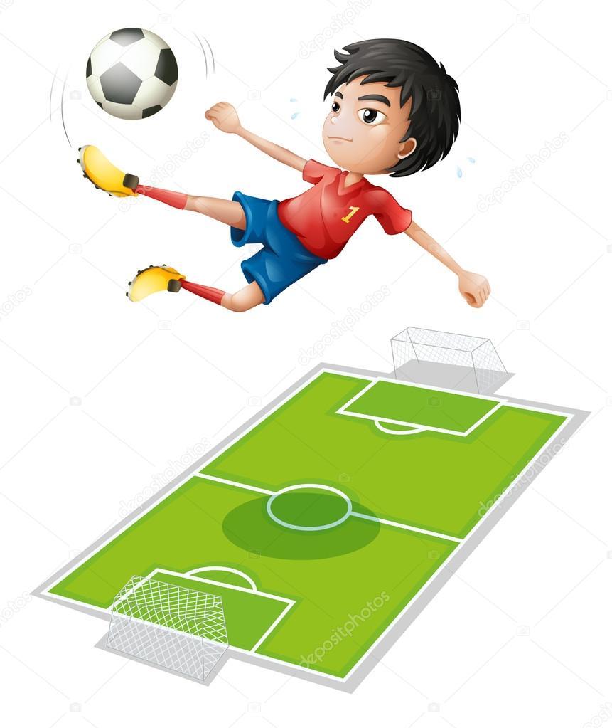 A boy kicking the ball